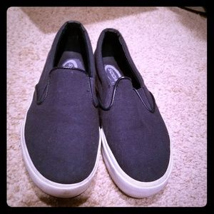Navy blue and white slip on shoes